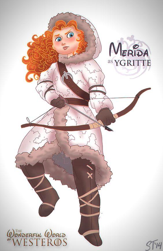 Vamers - Artistry - The Wonderful World of Westeros Imagines Disney Princesses as Game of Thrones Characters - Art by DjeDjehuti - Merida as...