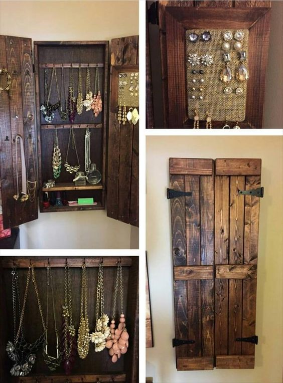 Wooden Pallet Jewelry Cabinet DIY Wood Working Projects