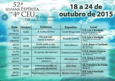 4o.CEU Convida para a sua 52a.Semana Espírita - RJ - http://www.agendaespiritabrasil.com.br/2015/10/12/4o-ceu-convida-para-a-sua-52a-semana-espirita-rj/