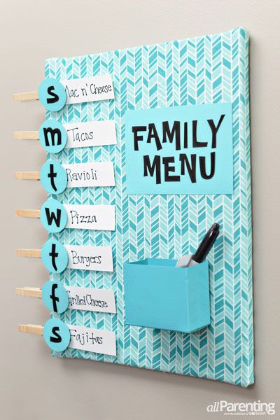 "Meal planning menu board #DIY ... great way to stay on track all week with healthy options planned out ahead of time. Kind of cheesy looking, but I really need to get back to being organized here if possible. Include ""X"" nights for Sophia. ;)"
