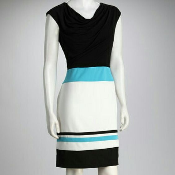 """Misses Cowl-neck Dress Dress by Voir Voir (Zulily). Black fluid material cowl-neck. Ivory bottom has black & turquoise stripes. Tag says Size 18 but I had it altered. It measures 37"""" top to bottom, 21.5"""" armpit to armpit and 19"""" across the top of the turquoise stripe (which is the waist). Dresses Midi"""