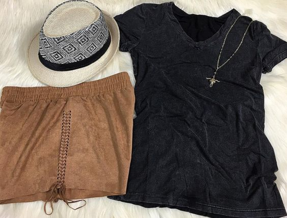 Calling all spring breakers  Suede shorts | faded tee | fedora --> Shop this entire look in stores tomorrow! #shopPD