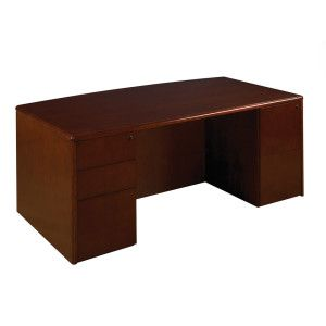 OFD Studio Series - Radius Edge Bow Top Desk with BBF and FF Peds - Cherry; More pieces available #officefurniture #desk