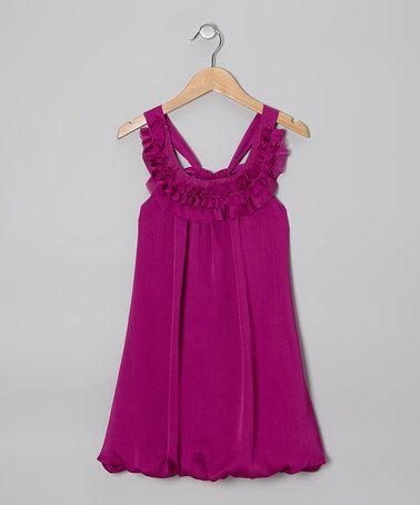 Another great find on #zulily! Grape Chiffon Bubble Yoke Dress - Girls #zulilyfinds