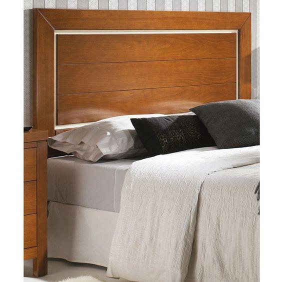 Cabecero de cama modelo recto con panel central con 2 - Rayas horizontales ...