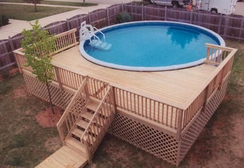 Small round above ground composite pool deck for small for Above ground pool decks for small yards