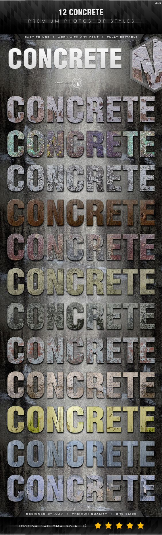12 Concrete Styles Vol.5 - Text Effects Styles