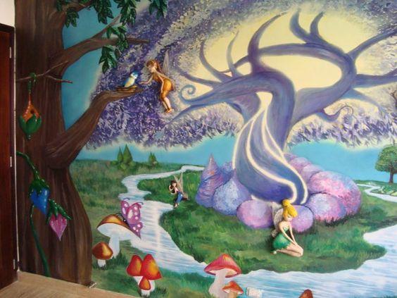Mural de Tinker Bell para cuarto de niña