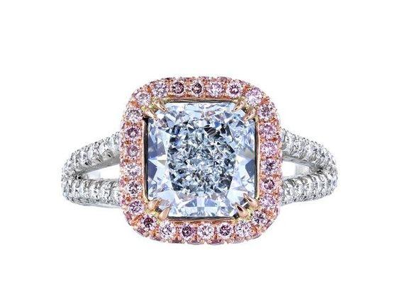 2.43ct Natural Blue Diamond & Pink Diamond Ring