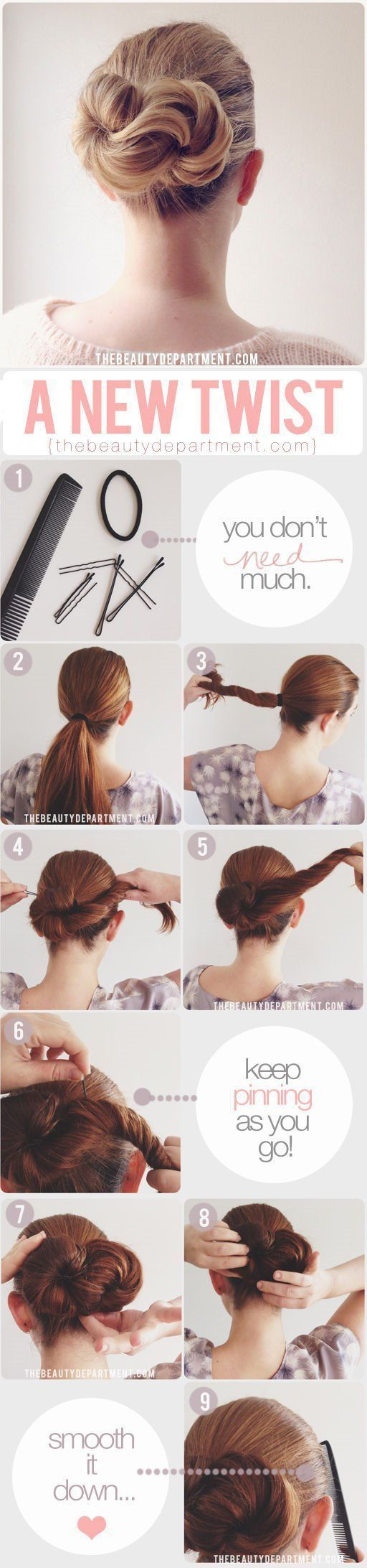 Long hair style: twist updo.