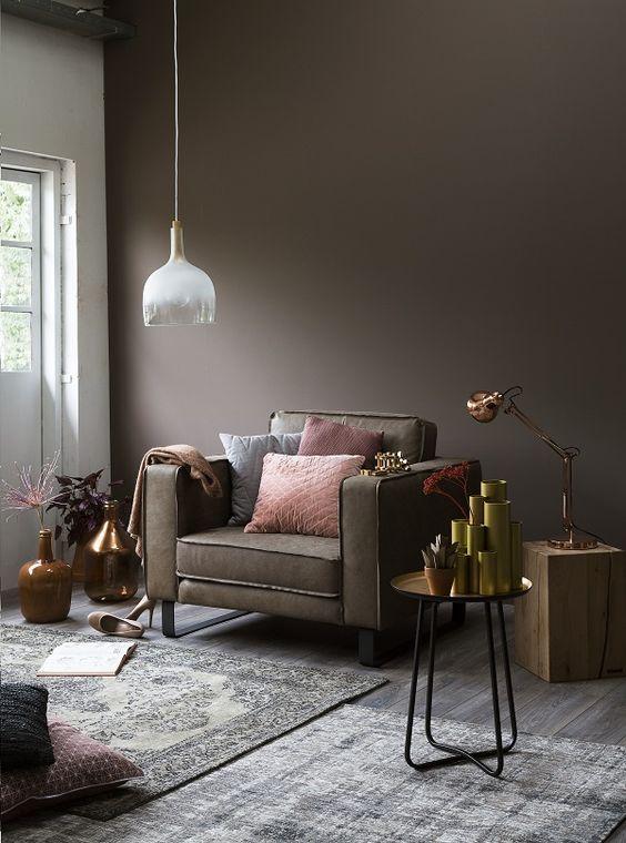 Kleur Van De Week Dark Powder My Industrial Interior Interieur Woonkamer Bruin Interieur Taupe Muren