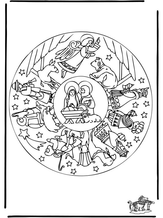 Coloring pages ... I love the coloring pages here . The Nativity story in a circle for children to color .