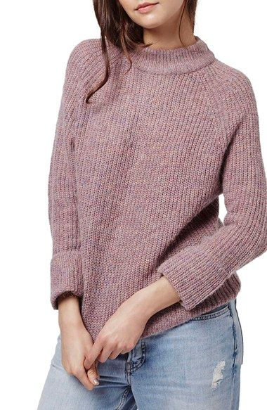 Topshop Mock Neck Raglan Sweater available at #Nordstrom
