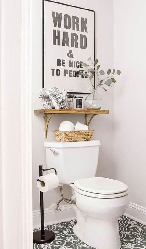 10 Small Bathroom Decorating Ideas That Are Major Goals Smallbathroomideas These Small Bathroom Decorati In 2020 Small Bathroom Decor Small Wall Decor Toilet Pictures