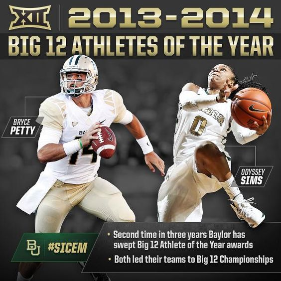 For the 2nd time in 3 years, #Baylor swept Big 12 Athlete of the Year honors. Congrats, Bryce & Odyssey!