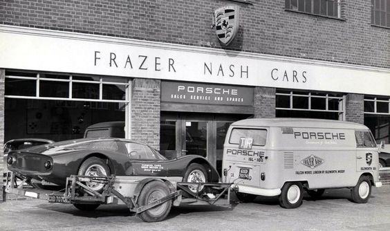 1954-1965 BRITISH PORSCHE IMPORTER (FRAZER NASH CARS) - Volkswagen Type 2 Transporter, Porsche 906 on trailer.