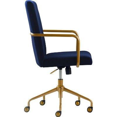 Giselle Gold Desk Chair Navy Blue Velvet Adore Decor