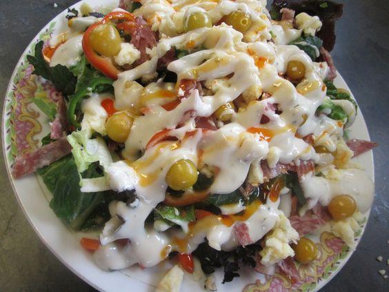 spicy and cheesy salami salad by kukuramutta.deviantart.com on @DeviantArt