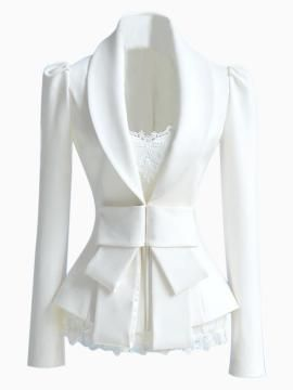 Shop Slim fit White Blazer with Bow Waist from persunmall.com .Free shipping Worldwide.