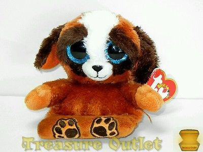 Ty Peek-A-Boo Stuffed Plush Beanie Phone Holder Pups St  Bernard Puppy Dog