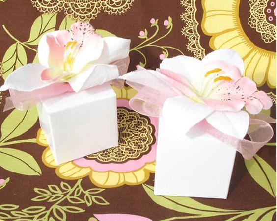 Tropical Orchid Favor Boxes