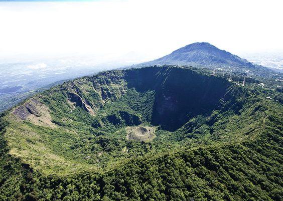 Crater you can hike to at El Boqueron National Park, El Salvador.