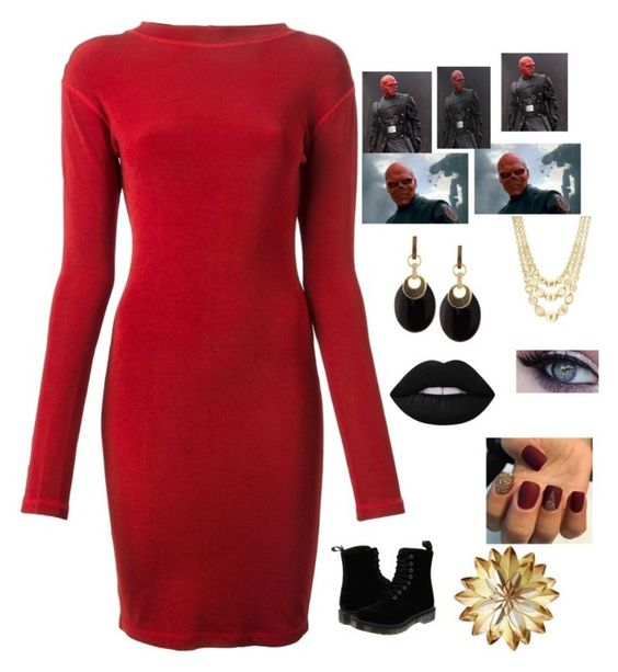 """Red Skull"" by the-marvel ❤ liked on Polyvore featuring Jean-Paul Gaultier, Dr. Martens, Marco Bicego, Alexis Bittar and Lime Crime"