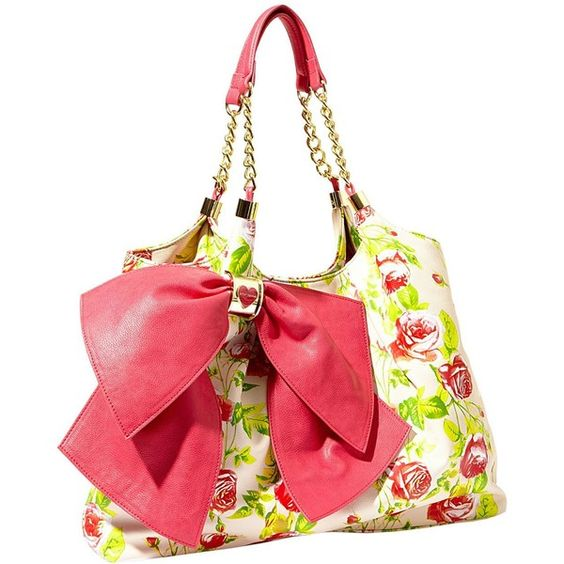 Betsey Johnson Bow Licious Tote ($118) ❤ liked on Polyvore featuring bags, handbags, tote bags, pink, dresses, new arrivals, vegan handbags, vegan tote, pink purse and vegan tote bag