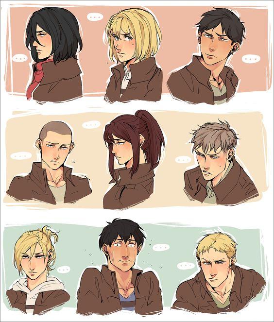 Shingeki no Kyojin - Armin, Eren, Connie, Jean, Bertholdt, Reiner, Mikasa, Sasha and Annie