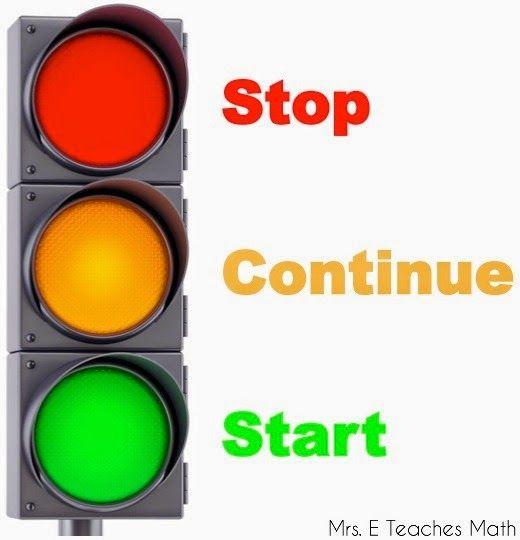 Stop, Start, Continue - making goals for the new school year     mrseteachesmath.blogspot.com