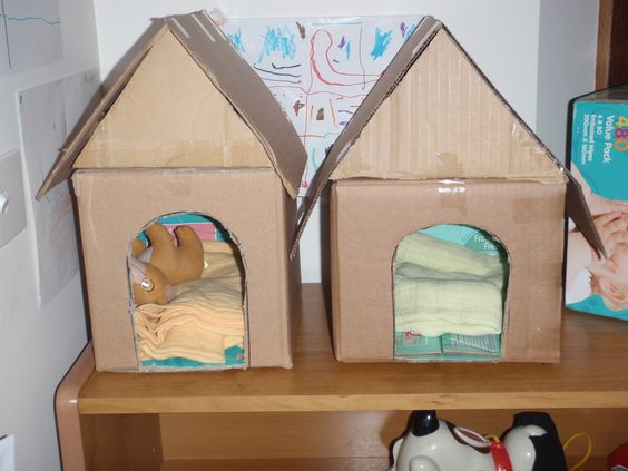Classroom Pet Ideas ~ Dog kennels i made which kids could then paint and