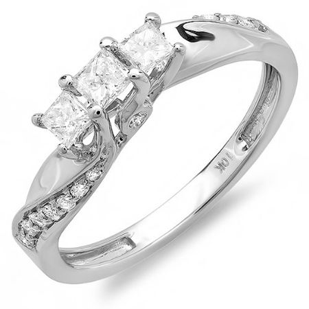 Carat Ctw White Gold Princess And Round Diamond Las 3 Stone Swirl Engagement Bridal Ring Ct Size Priced