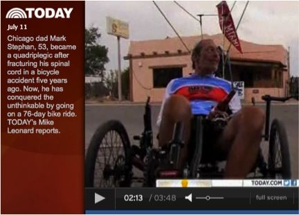 """How's this for inspiration?    """"Quadriplegic man fulfills dream of biking across country""""    Mark Stephan, Miami University class of 1980, is featured on Today Show for completing 3,129 mile bike ride across the country! Click on the image to check out the episode."""