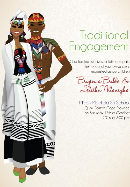 South African Xhosa Traditional wedding invitation Card – Traditional Wedding Invitation Cards Designs