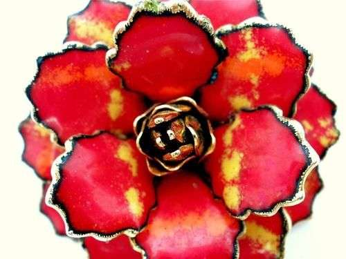 Vintage Red Enamel Flower Brooch Yellow Floral Layered Dimensional Pin | eBay