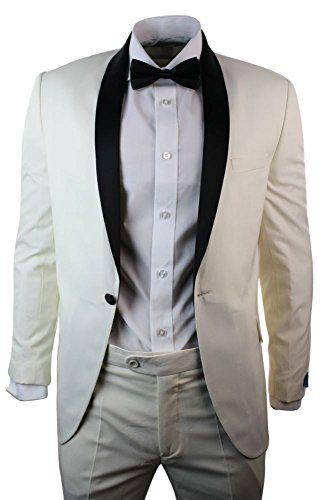 M Apparel Mens Cream Ivory Tuxedo Dinner Suit Black Shawl Collar 3