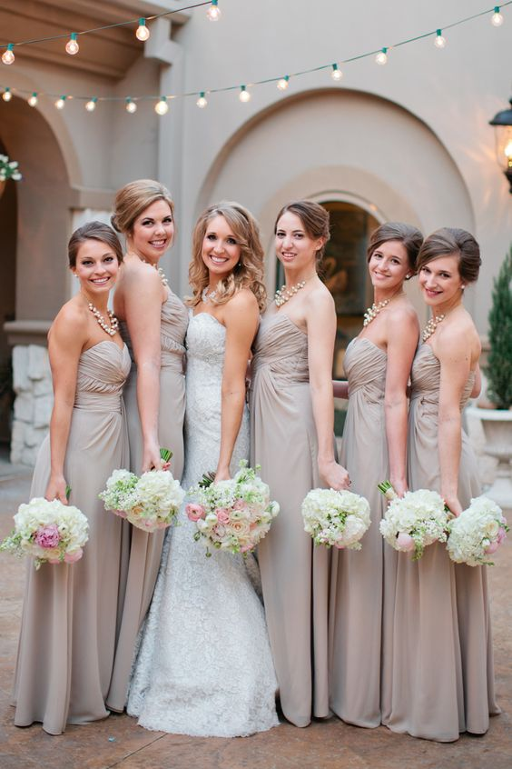Champagne bridesmaid dresses with blush and cream florals for Blush and gold wedding dress