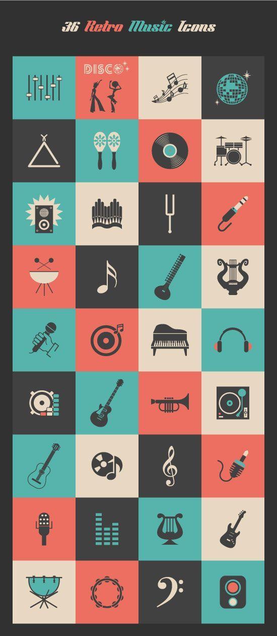 Retro Music Icons Set Retro Music Music Icon Music Design