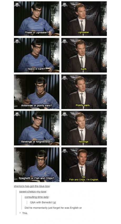 Benedict Cumberbatch- An English elf who lives on earth, seeking revenge with a lightsaber who also enjoys fish n chips