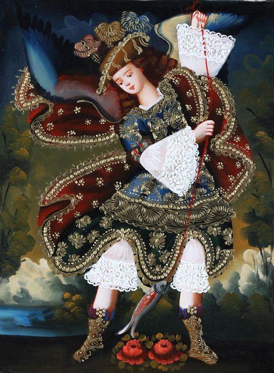 """Archangel St Raphael"" (2000-2014), By Elizabeth Alvarez, Listed by Ebay Dealer: putuco, Mixed Media: Oil on Canvas with Gold leaf, School of Cusco Painting (La Escuela Cusqueña), Latin American. #angels"