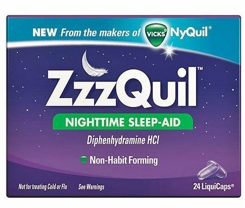 Medicines such as NyQuil can be used as an aid to help someone who is having trouble sleeping at night.