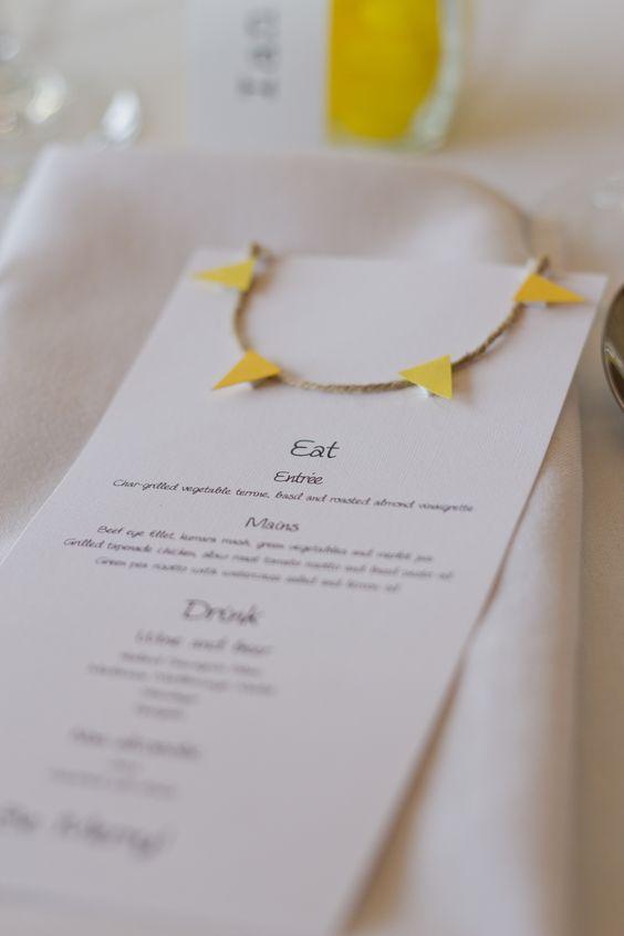 Our wedding menus