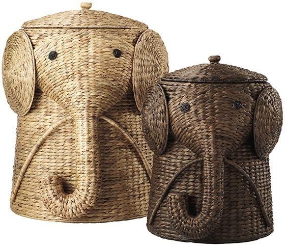 Hampers elephants and laundry on pinterest - Elephant hamper wicker ...