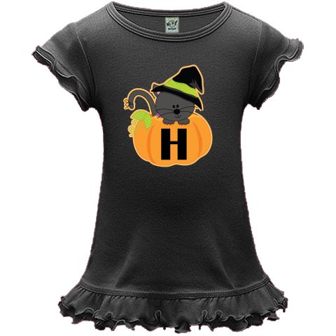 Halloween kitty cat in a pumpkin with monogram letter H initial on a A-Line Baby Dresse. $19.99 www.initialtees.com #Halloween #witch