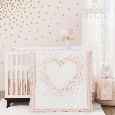 Baby Love Metallic Gold Pink White Hearts Stripes And Chevrons 4 Piece Crib Bumper In 2020 Girl Nursery Themes Baby Girl Bedding Heart Nursery