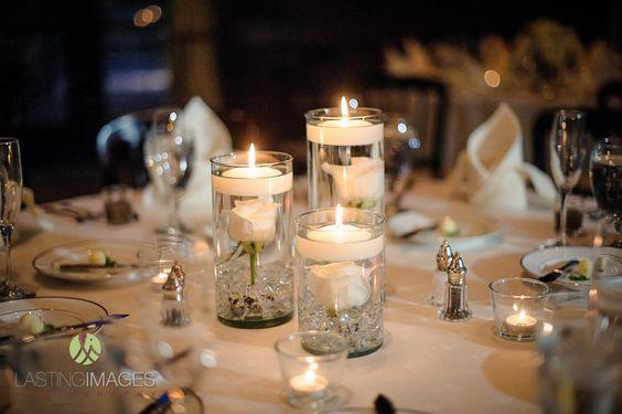 Wedding reception floating candles centerpiece idea