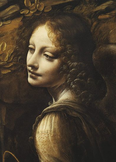 LEONARDO DA VINCI (1452 - 1519) | Virgin of the Rocks, detail - 1495-1508. National Gallery, London.: