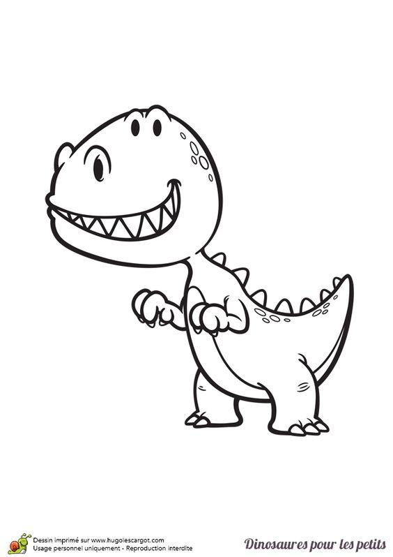 Dessin pour enfant coloriage d un petit dinosaure t rex - Coloriage d un enfant ...
