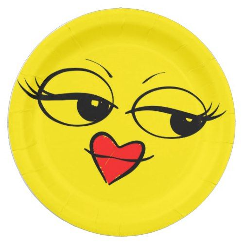 Lady Eyes Red Lips Face Funny Emoji Party Paper Plate Zazzle Com