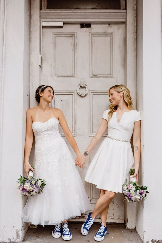 Playful Bridal Style With Blue Converse Short Wedding Dress Wedding Dress Lesbian Midi Wedding Dress